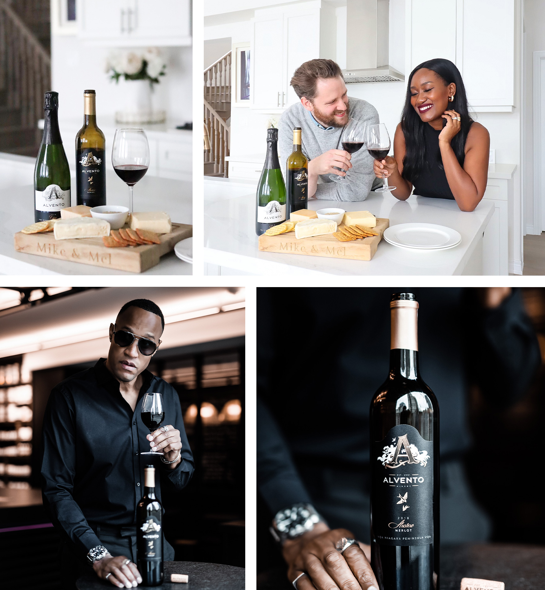 4 Image Collage (Clockwise) - Wine & charcuterie board, Couple clinking glasses in the kitchen, Bottle of Merlot, Man with sunglasses drinking a glass of red wine