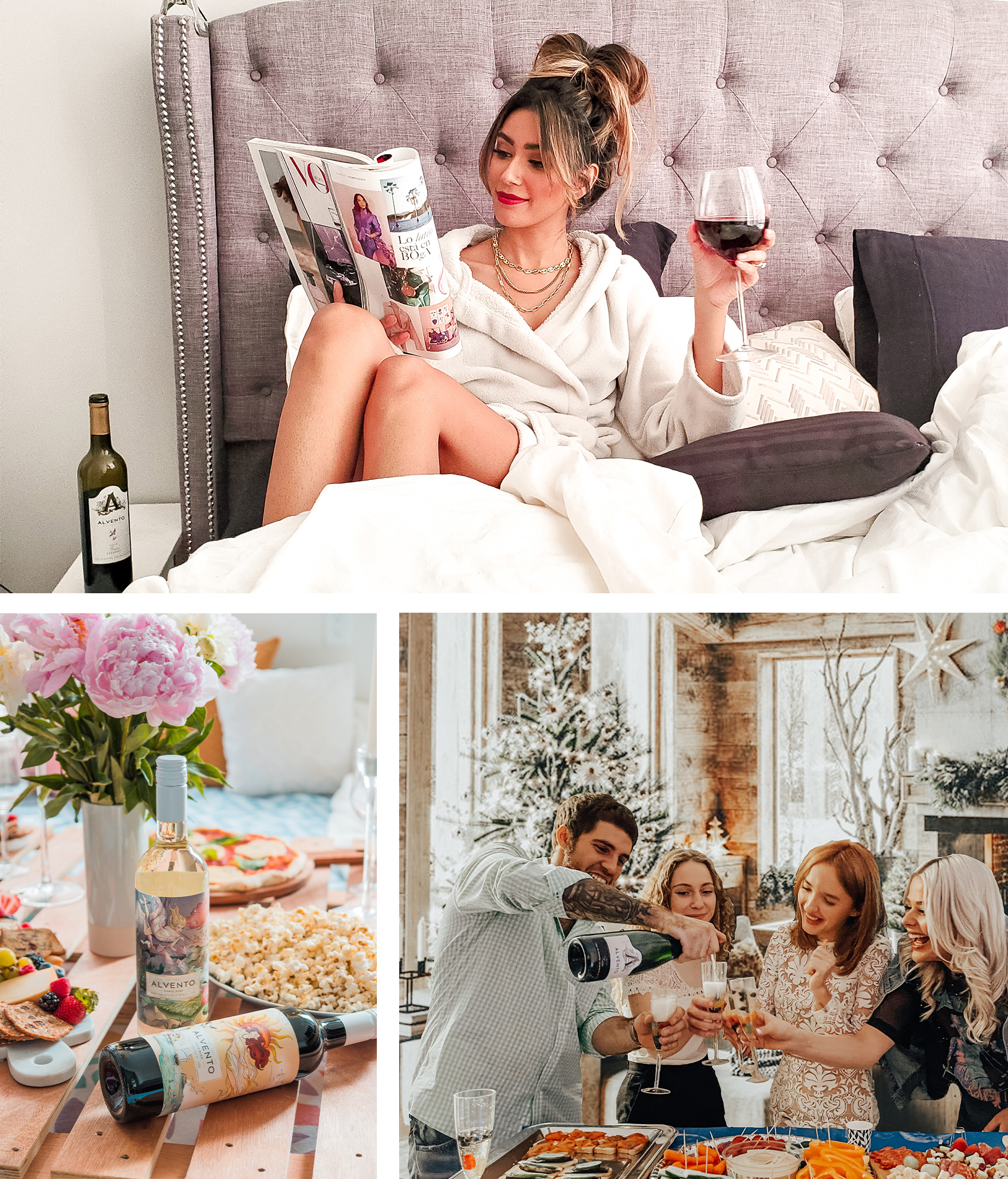 3 Image Collage (Clockwise) - Woman relaxing drinking glass of red wine, group of 4 people celebrating, Wind Series with snacks